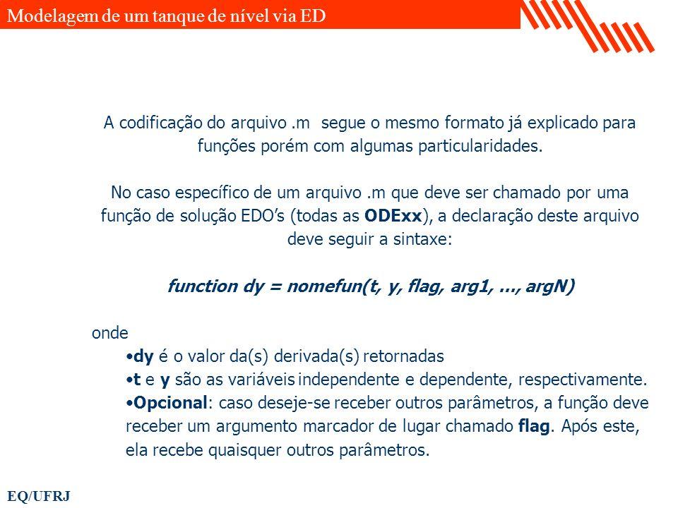 EQ/UFRJ A codificação do arquivo.m segue o mesmo formato já explicado para funções porém com algumas particularidades. No caso específico de um arquiv