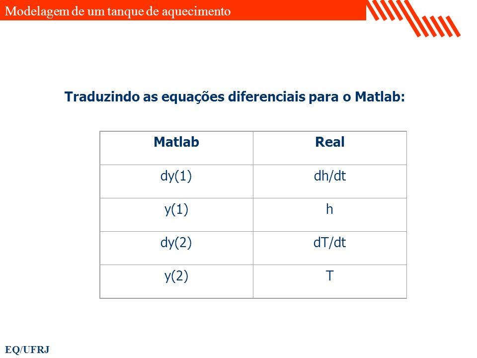 EQ/UFRJ MatlabReal dy(1)dh/dt y(1)h dy(2)dT/dt y(2)T Traduzindo as equações diferenciais para o Matlab: Modelagem de um tanque de aquecimento