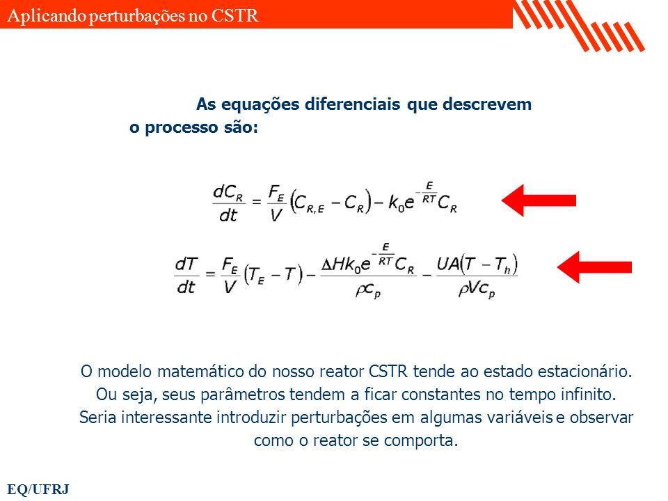 EQ/UFRJ As equações diferenciais que descrevem o processo são: O modelo matemático do nosso reator CSTR tende ao estado estacionário. Ou seja, seus pa