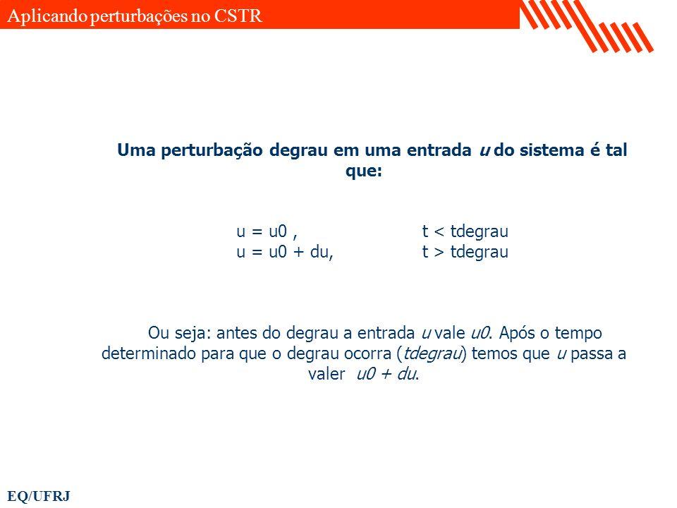 EQ/UFRJ Uma perturbação degrau em uma entrada u do sistema é tal que: u = u0, t < tdegrau u = u0 + du, t > tdegrau Ou seja: antes do degrau a entrada