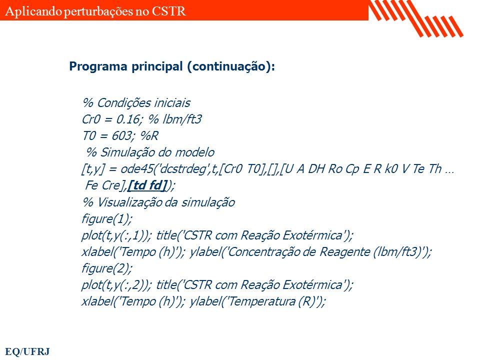 EQ/UFRJ % Condições iniciais Cr0 = 0.16; % lbm/ft3 T0 = 603; %R % Simulação do modelo [t,y] = ode45('dcstrdeg',t,[Cr0 T0],[],[U A DH Ro Cp E R k0 V Te