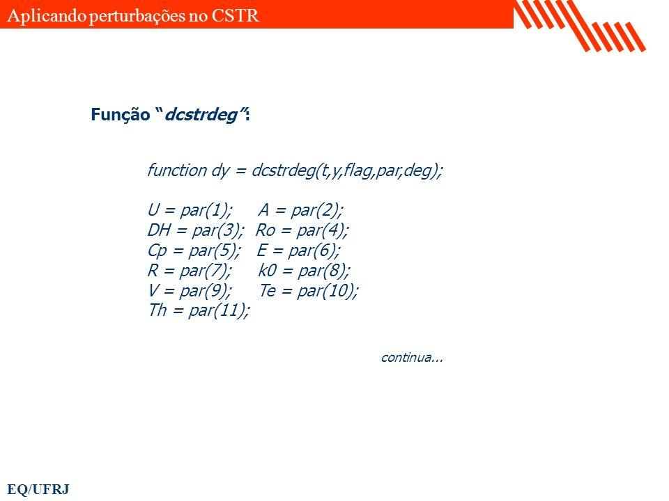 EQ/UFRJ function dy = dcstrdeg(t,y,flag,par,deg); U = par(1); A = par(2); DH = par(3); Ro = par(4); Cp = par(5); E = par(6); R = par(7); k0 = par(8);