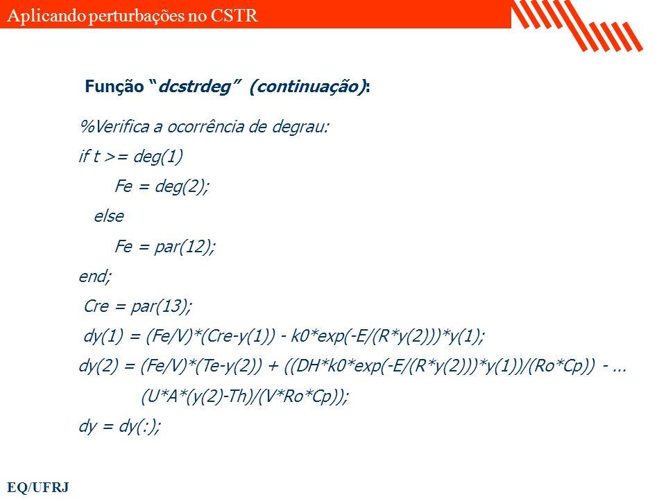 EQ/UFRJ %Verifica a ocorrência de degrau: if t >= deg(1) Fe = deg(2); else Fe = par(12); end; Cre = par(13); dy(1) = (Fe/V)*(Cre-y(1)) - k0*exp(-E/(R*