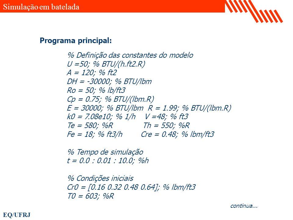 EQ/UFRJ % Definição das constantes do modelo U =50; % BTU/(h.ft2.R) A = 120; % ft2 DH = -30000; % BTU/lbm Ro = 50; % lb/ft3 Cp = 0.75; % BTU/(lbm.R) E