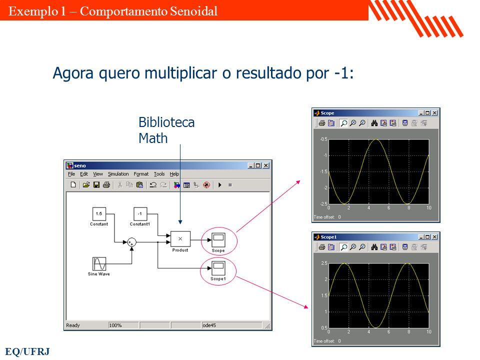 EQ/UFRJ Agora quero multiplicar o resultado por -1: Exemplo 1 – Comportamento Senoidal Biblioteca Math