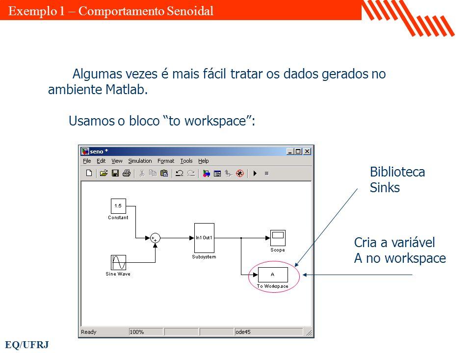 EQ/UFRJ Algumas vezes é mais fácil tratar os dados gerados no ambiente Matlab. Usamos o bloco to workspace: Cria a variável A no workspace Biblioteca