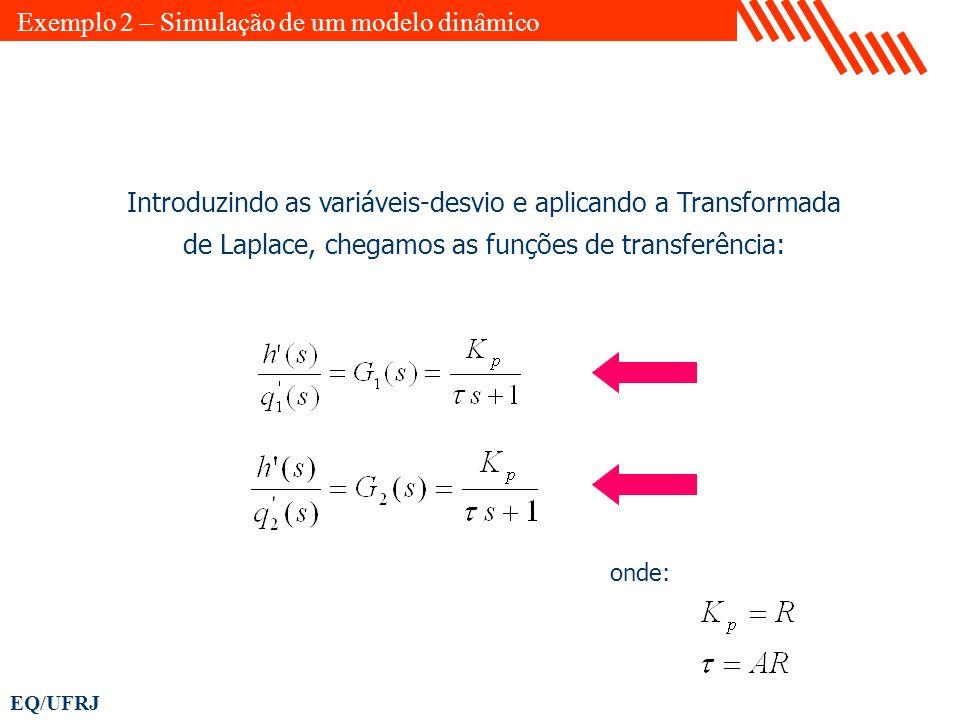 EQ/UFRJ Introduzindo as variáveis-desvio e aplicando a Transformada de Laplace, chegamos as funções de transferência: onde: Exemplo 2 – Simulação de u