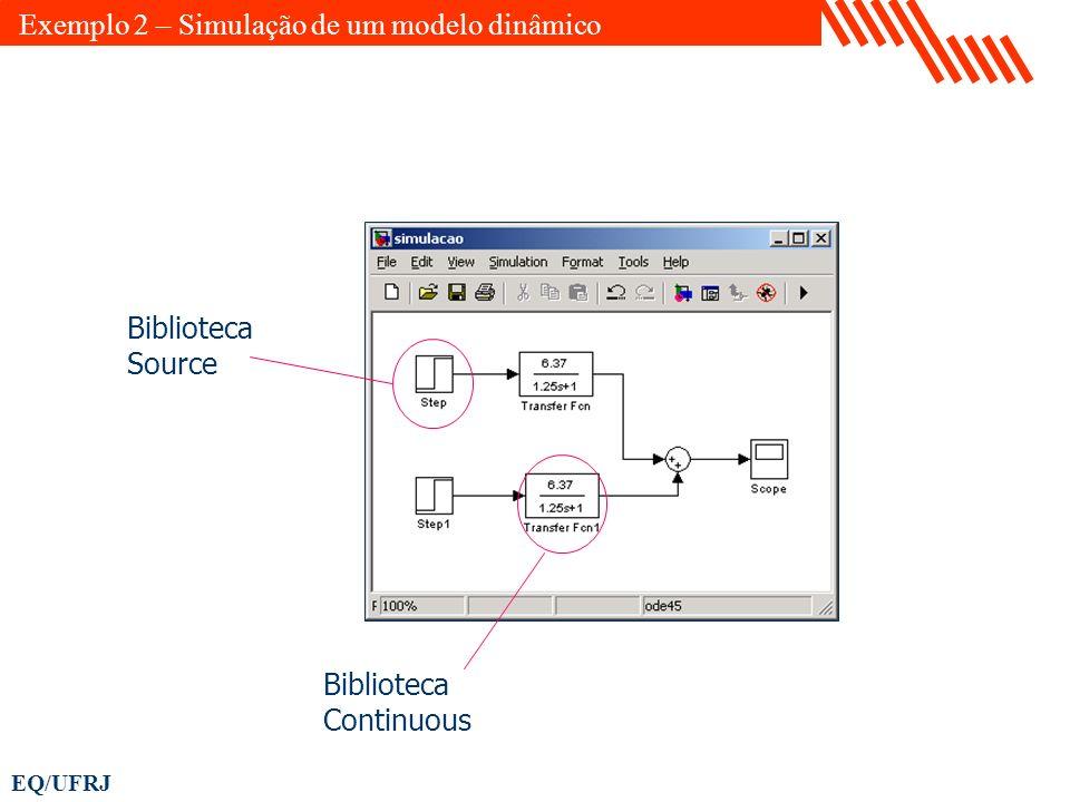 EQ/UFRJ Biblioteca Source Biblioteca Continuous Exemplo 2 – Simulação de um modelo dinâmico