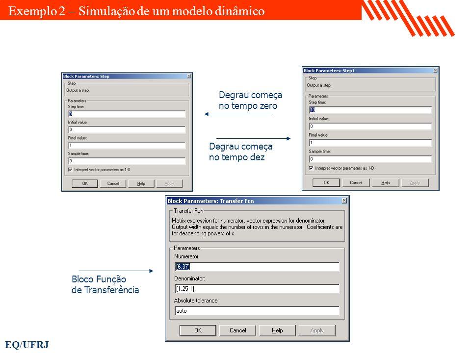 EQ/UFRJ Degrau começa no tempo zero Degrau começa no tempo dez Bloco Função de Transferência Exemplo 2 – Simulação de um modelo dinâmico