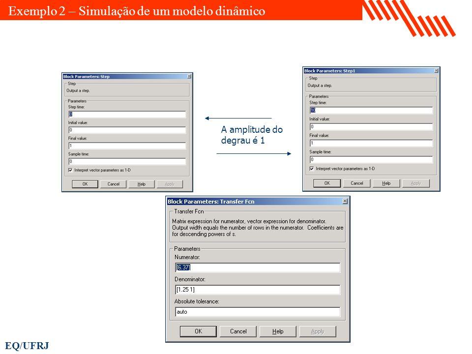 EQ/UFRJ A amplitude do degrau é 1 Exemplo 2 – Simulação de um modelo dinâmico