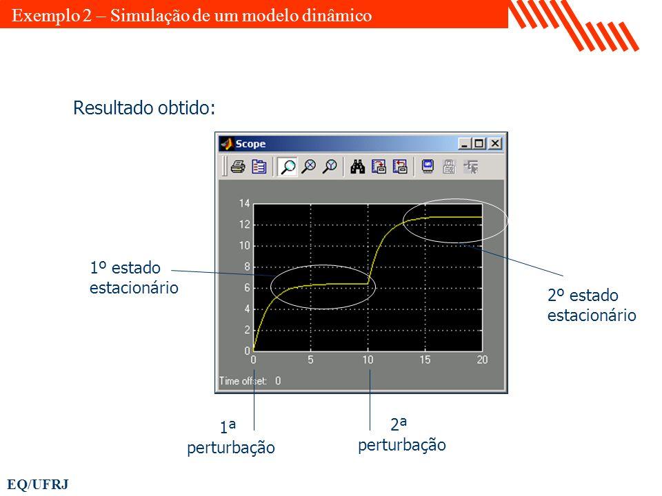 EQ/UFRJ Resultado obtido: 1º estado estacionário 2º estado estacionário 1ª perturbação 2ª perturbação Exemplo 2 – Simulação de um modelo dinâmico