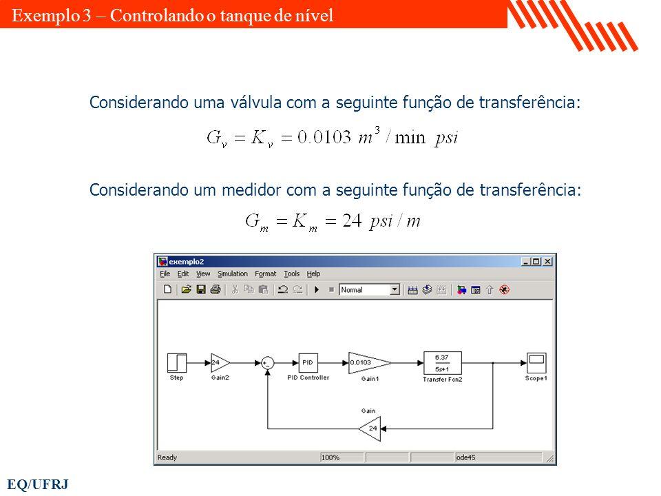 EQ/UFRJ Considerando uma válvula com a seguinte função de transferência: Considerando um medidor com a seguinte função de transferência: Exemplo 3 – C