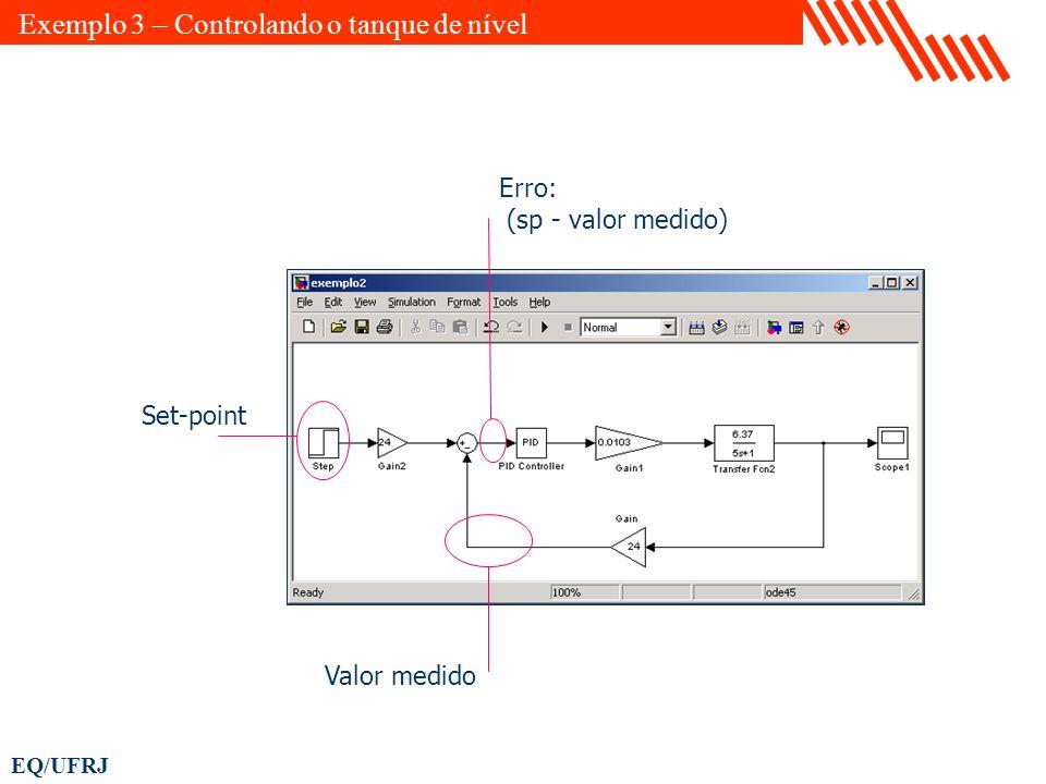 EQ/UFRJ Set-point Valor medido Erro: (sp - valor medido) Exemplo 3 – Controlando o tanque de nível