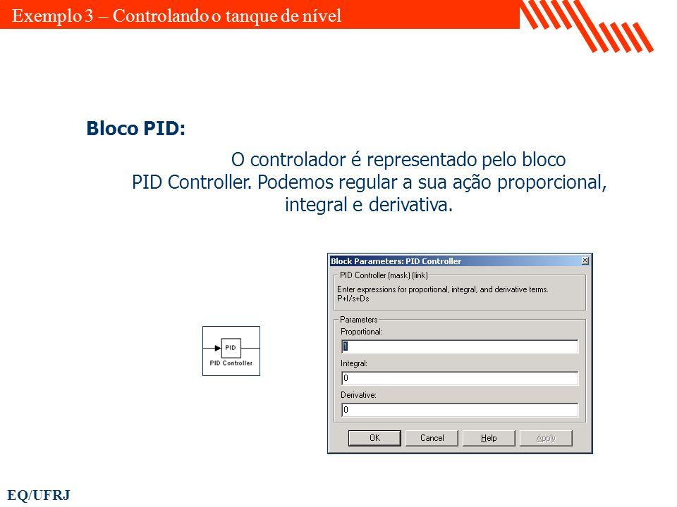 EQ/UFRJ Bloco PID: O controlador é representado pelo bloco PID Controller. Podemos regular a sua ação proporcional, integral e derivativa. Exemplo 3 –