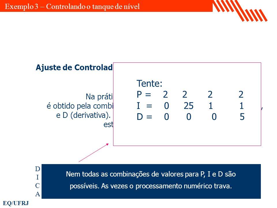 EQ/UFRJ Ajuste de Controladores: Na prática o melhor ajuste para um controlador é obtido pela combinação da ação P (proporcional), I (integral), e D (