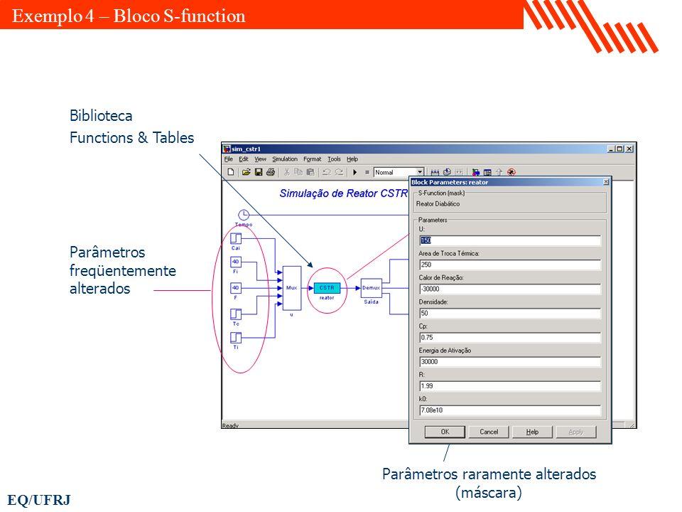 EQ/UFRJ Parâmetros freqüentemente alterados Parâmetros raramente alterados (máscara) Biblioteca Functions & Tables Exemplo 4 – Bloco S-function