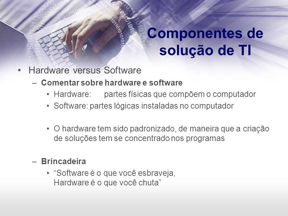 Componentes de solução de TI Hardware versus Software –Comentar sobre hardware e software Hardware:partes físicas que compõem o computador Software: p
