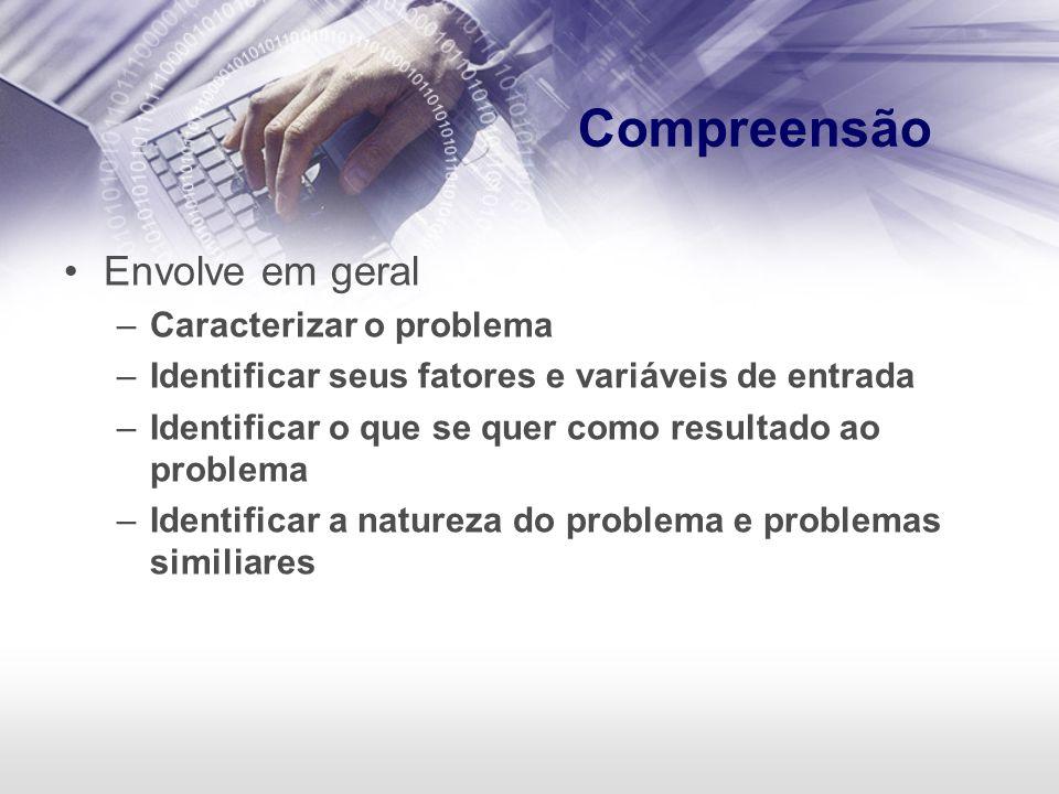 Compreensão Envolve em geral –Caracterizar o problema –Identificar seus fatores e variáveis de entrada –Identificar o que se quer como resultado ao pr