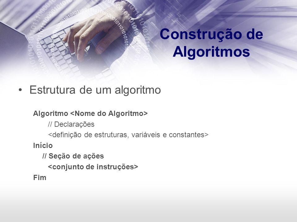 Construção de Algoritmos Estrutura de um algoritmo Algoritmo // Declarações Início // Seção de ações Fim