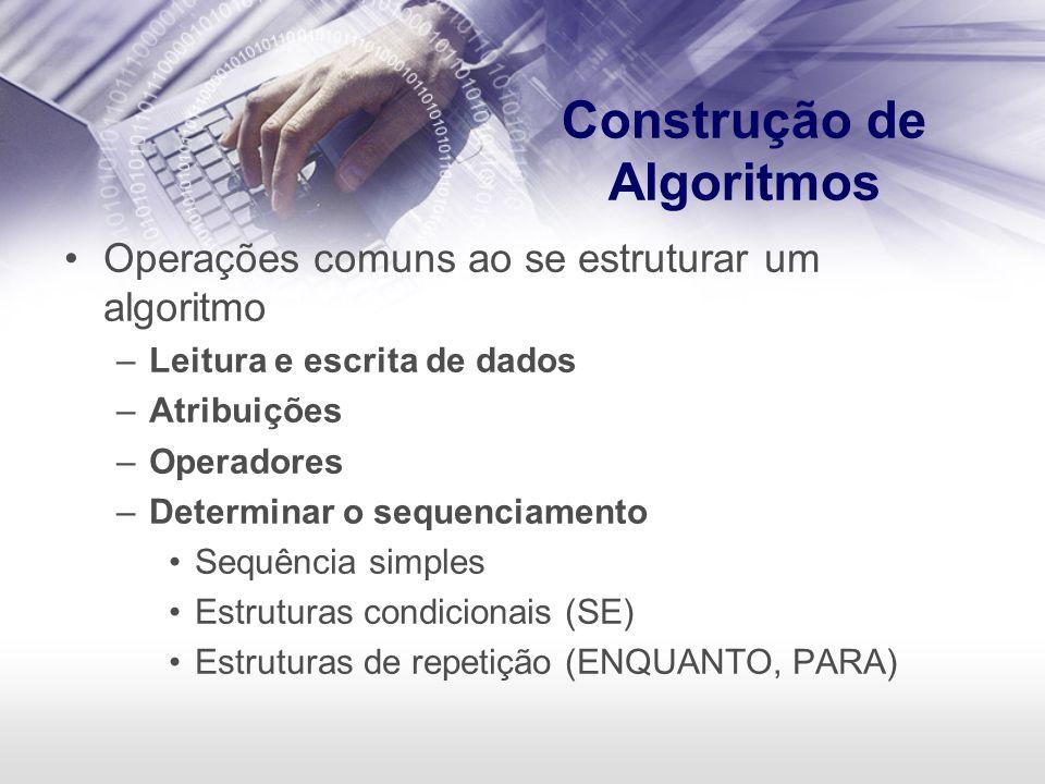 Construção de Algoritmos Operações comuns ao se estruturar um algoritmo –Leitura e escrita de dados –Atribuições –Operadores –Determinar o sequenciame