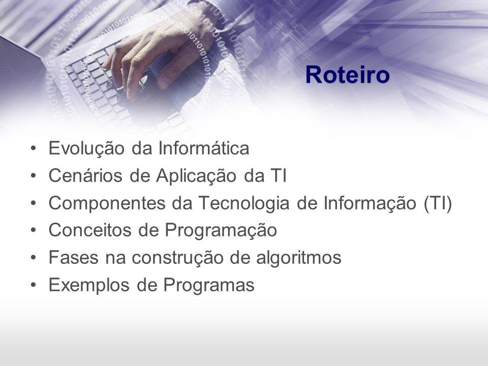 Roteiro Evolução da Informática Cenários de Aplicação da TI Componentes da Tecnologia de Informação (TI) Conceitos de Programação Fases na construção
