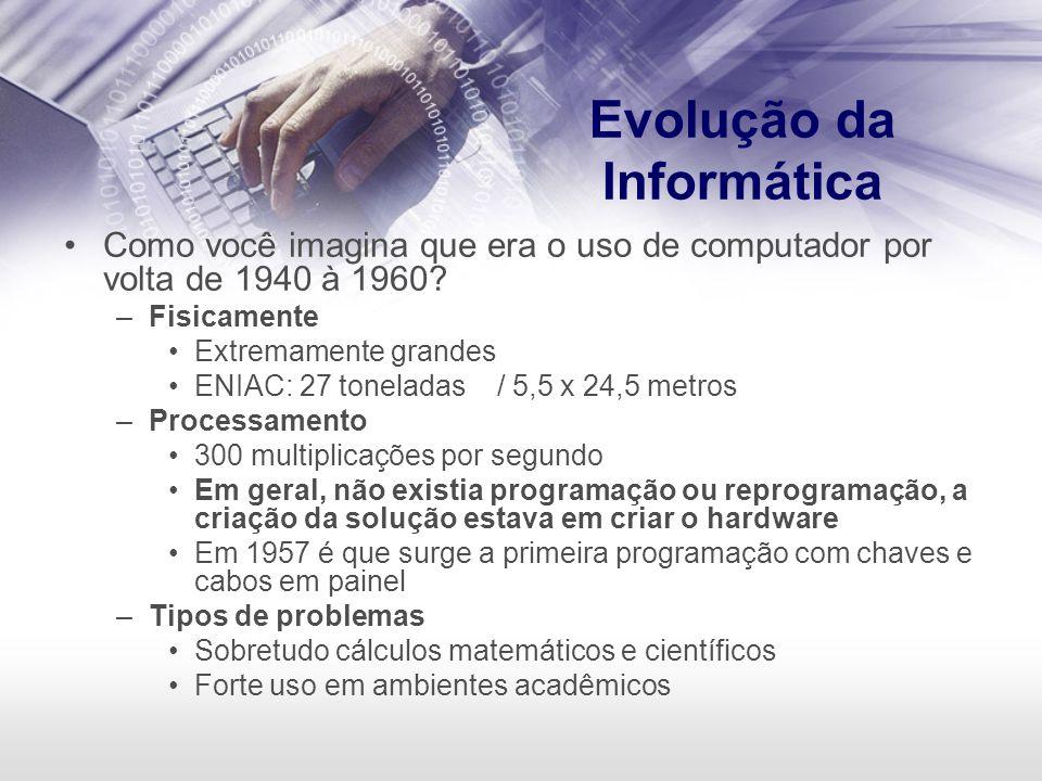 Evolução da Informática Como você imagina que era o uso de computador por volta de 1940 à 1960? –Fisicamente Extremamente grandes ENIAC: 27 toneladas