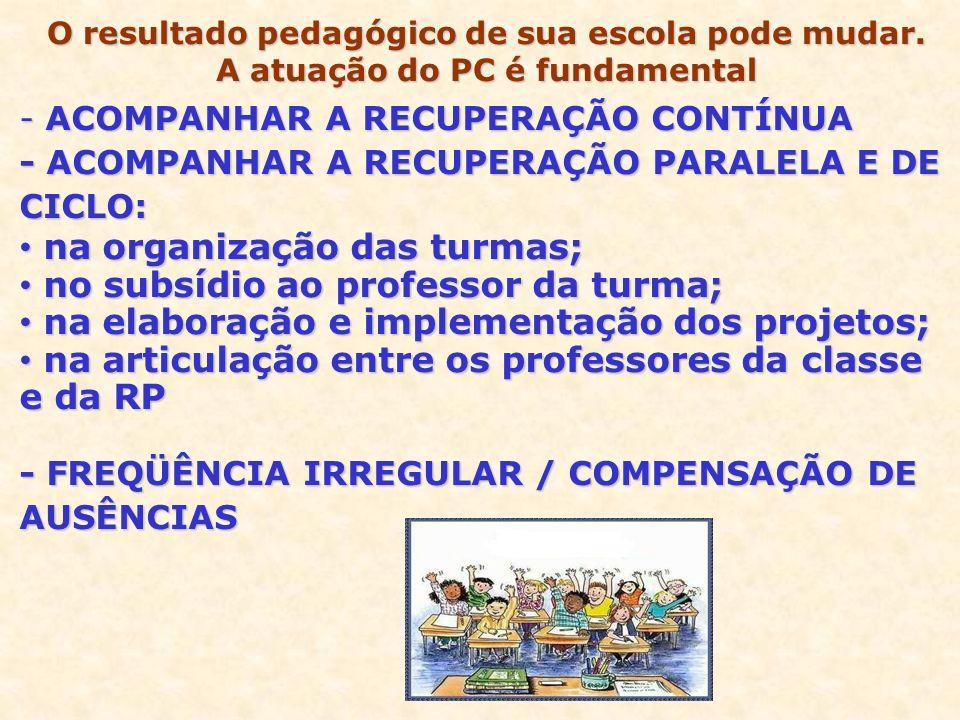 - ACOMPANHAR A RECUPERAÇÃO CONTÍNUA - ACOMPANHAR A RECUPERAÇÃO PARALELA E DE CICLO: na organização das turmas; na organização das turmas; no subsídio