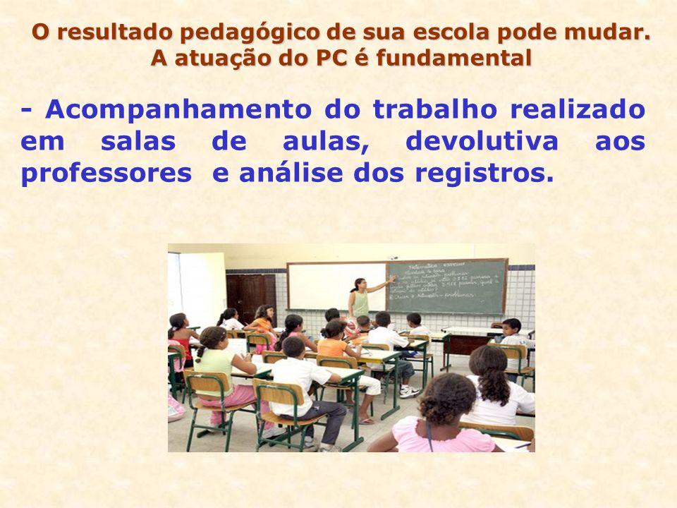 - Acompanhamento do trabalho realizado em salas de aulas, devolutiva aos professores e análise dos registros. O resultado pedagógico de sua escola pod