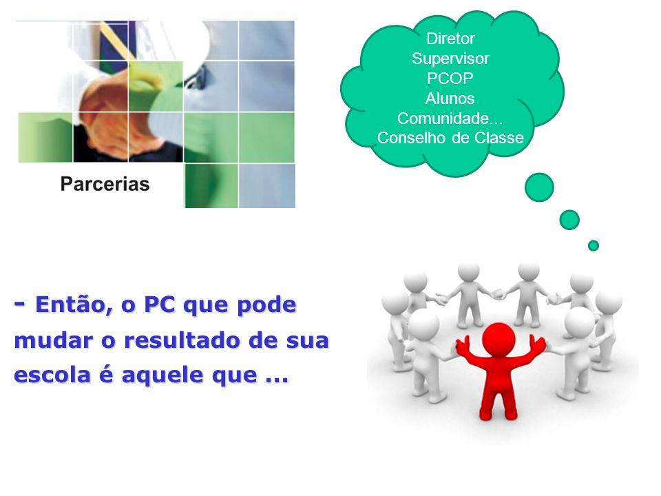 Diretor Supervisor PCOP Alunos Comunidade... Conselho de Classe - Então, o PC que pode mudar o resultado de sua escola é aquele que...