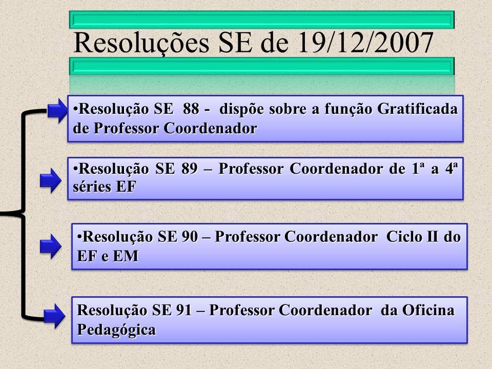 Resoluções SE de 19/12/2007 Resolução SE 91 – Professor Coordenador da Oficina Pedagógica Resolução SE 89 – Professor Coordenador de 1ª a 4ª séries EF