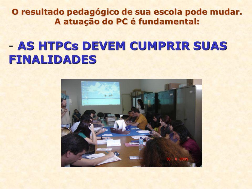 AS HTPCs DEVEM CUMPRIR SUAS FINALIDADES - AS HTPCs DEVEM CUMPRIR SUAS FINALIDADES O resultado pedagógico de sua escola pode mudar. A atuação do PC é f