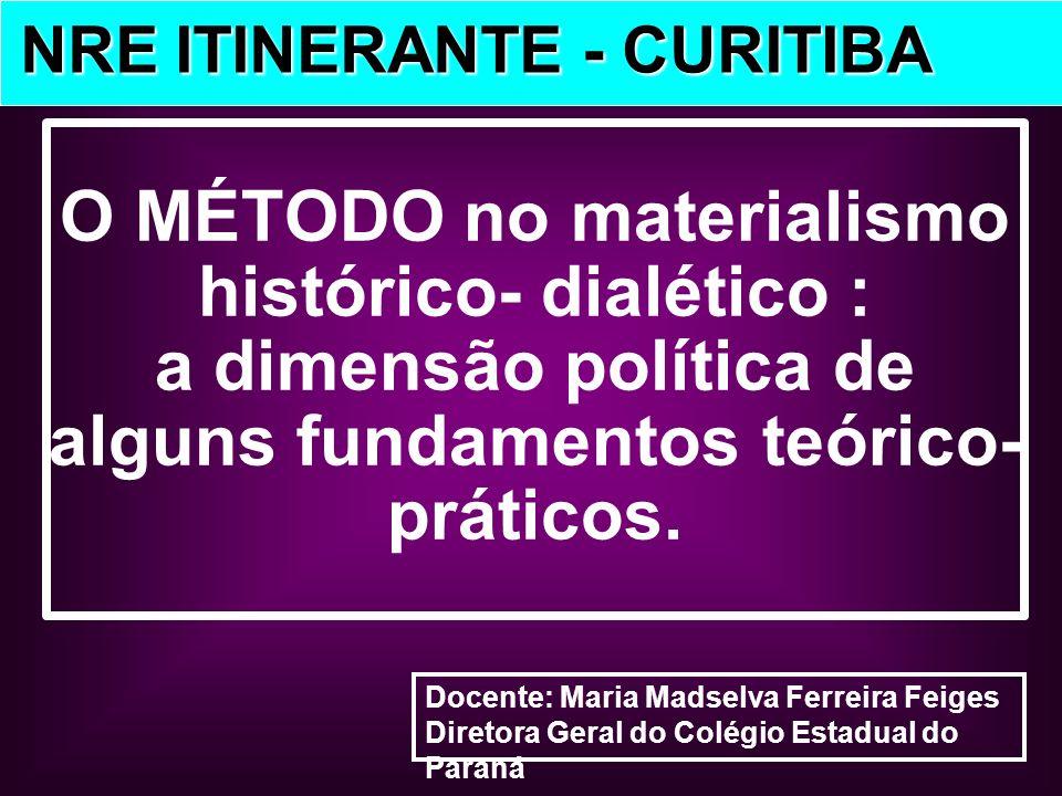 Docente: Maria Madselva Ferreira Feiges Diretora Geral do Colégio Estadual do Paraná NRE ITINERANTE - CURITIBA NRE ITINERANTE - CURITIBA O MÉTODO no m