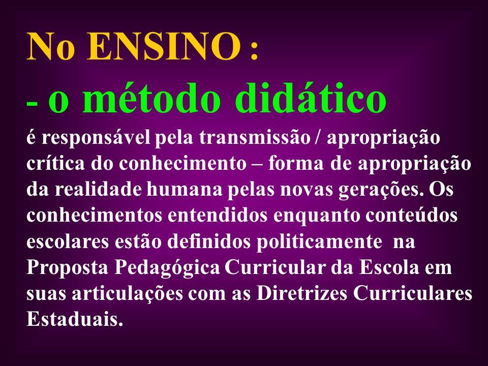 No ENSINO : - o método didático é responsável pela transmissão / apropriação crítica do conhecimento – forma de apropriação da realidade humana pelas