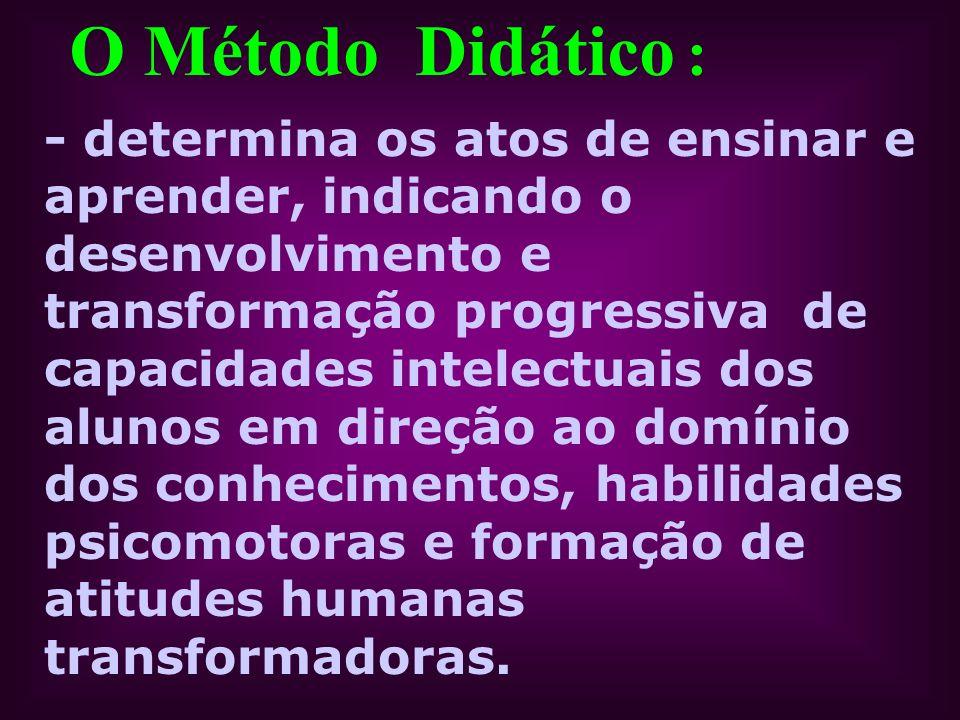O Método Didático : - determina os atos de ensinar e aprender, indicando o desenvolvimento e transformação progressiva de capacidades intelectuais dos