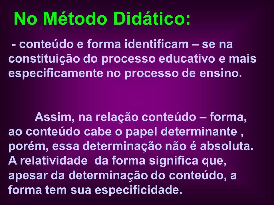 No Método Didático: - conteúdo e forma identificam – se na constituição do processo educativo e mais especificamente no processo de ensino. Assim, na
