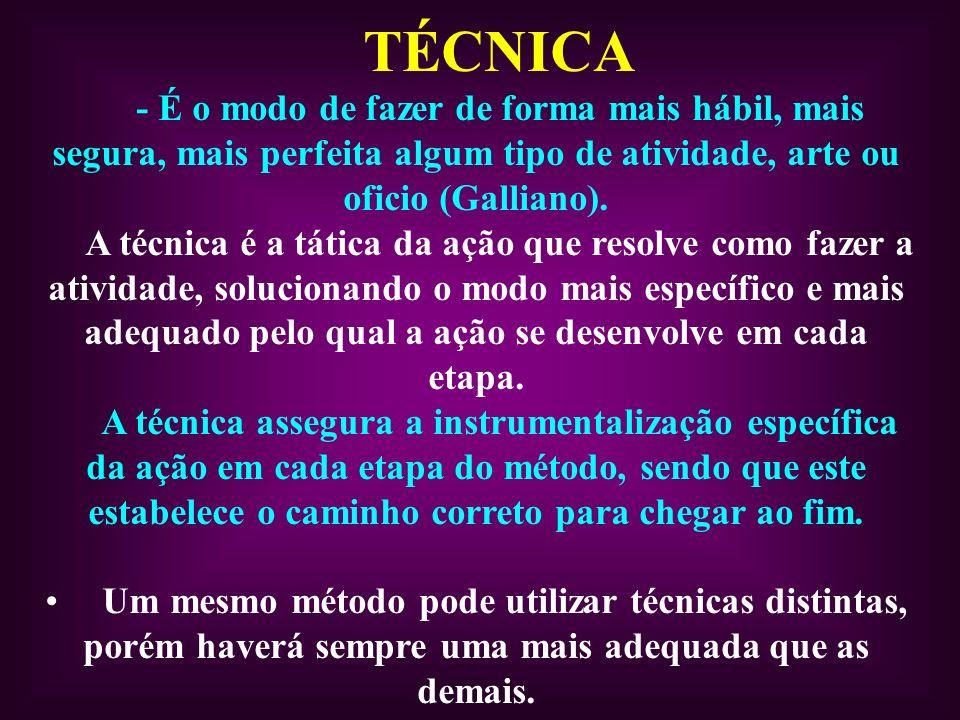 TÉCNICA - É o modo de fazer de forma mais hábil, mais segura, mais perfeita algum tipo de atividade, arte ou oficio (Galliano). A técnica é a tática d