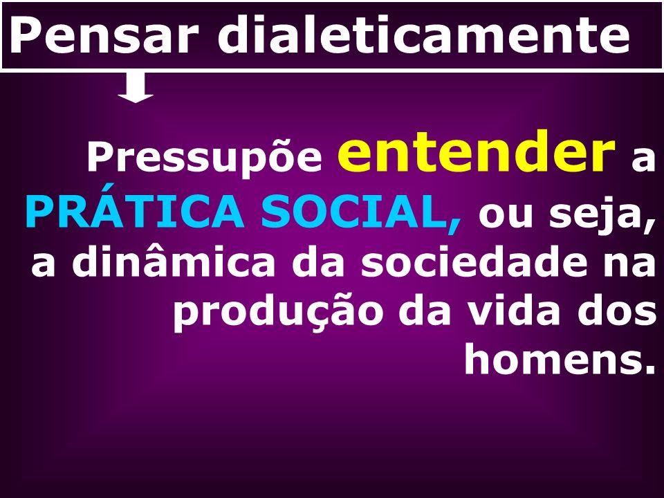 Pensar dialeticamente Pressupõe entender a PRÁTICA SOCIAL, ou seja, a dinâmica da sociedade na produção da vida dos homens.