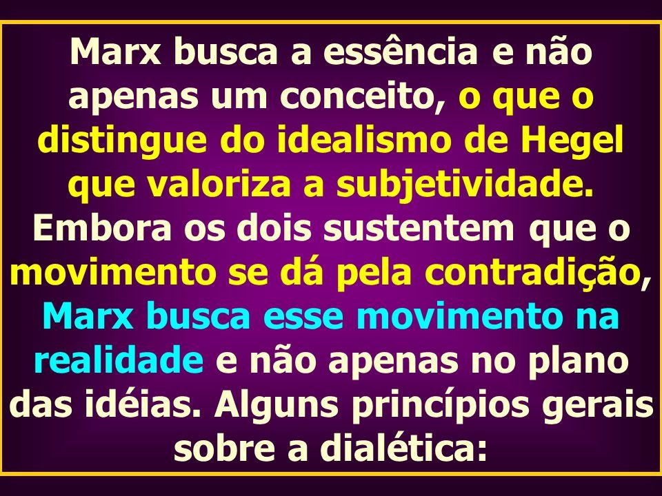 Marx busca a essência e não apenas um conceito, o que o distingue do idealismo de Hegel que valoriza a subjetividade. Embora os dois sustentem que o m