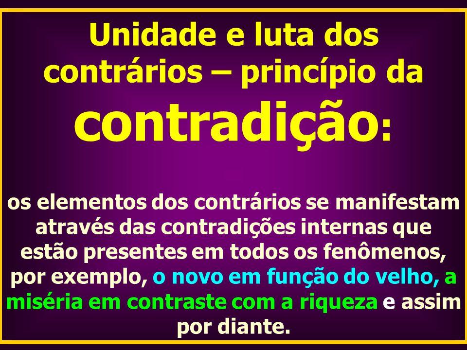 Unidade e luta dos contrários – princípio da contradição : os elementos dos contrários se manifestam através das contradições internas que estão prese