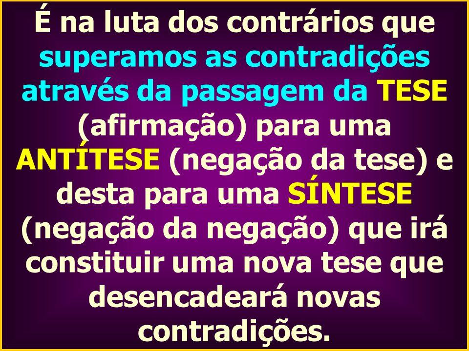 É na luta dos contrários que superamos as contradições através da passagem da TESE (afirmação) para uma ANTÍTESE (negação da tese) e desta para uma SÍ