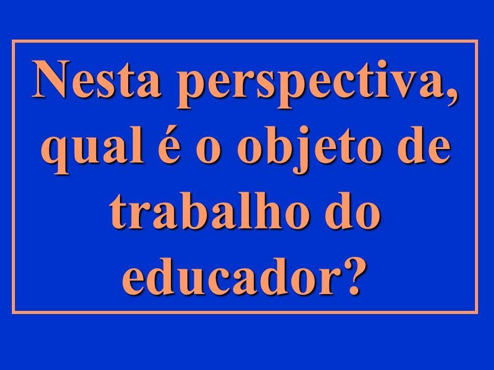 Nesta perspectiva, qual é o objeto de trabalho do educador?