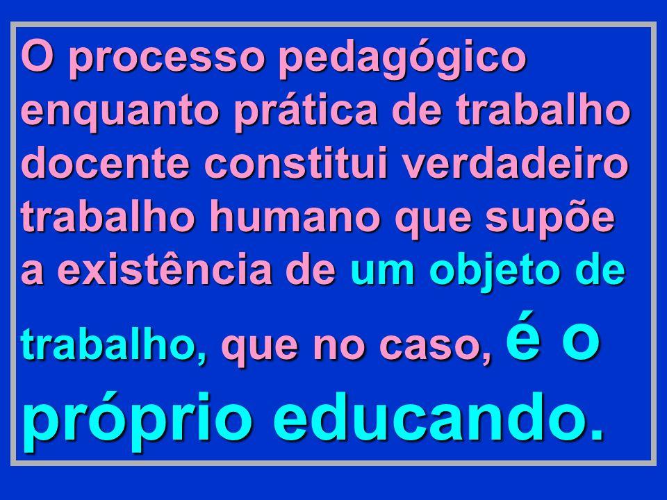 O processo pedagógico enquanto prática de trabalho docente constitui verdadeiro trabalho humano que supõe a existência de um objeto de trabalho, que n