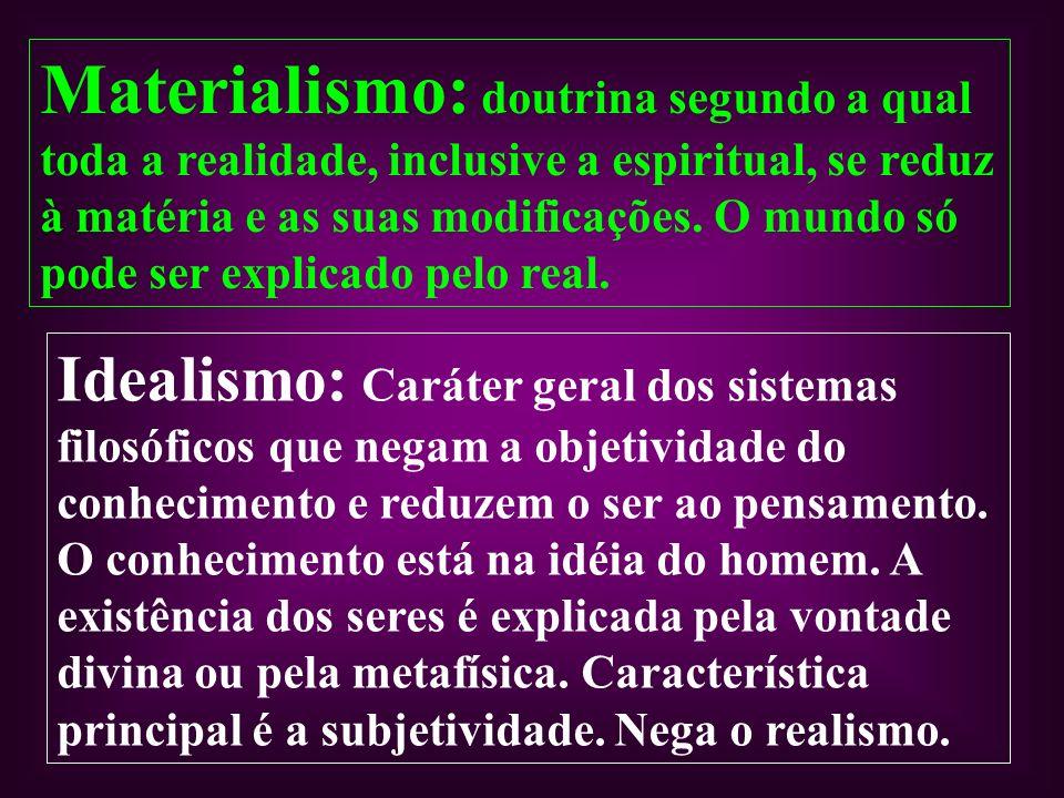 Materialismo: doutrina segundo a qual toda a realidade, inclusive a espiritual, se reduz à matéria e as suas modificações. O mundo só pode ser explica