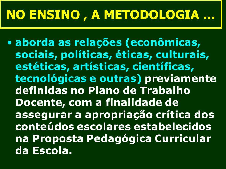 NO ENSINO, A METODOLOGIA... aborda as relações (econômicas, sociais, políticas, éticas, culturais, estéticas, artísticas, científicas, tecnológicas e