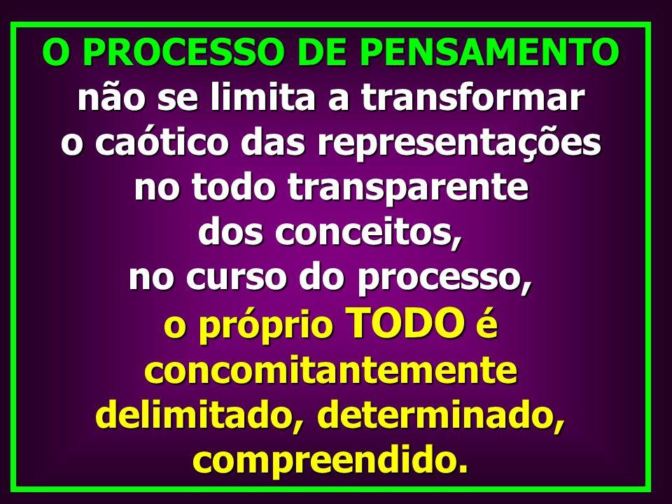 O PROCESSO DE PENSAMENTO não se limita a transformar o caótico das representações no todo transparente dos conceitos, no curso do processo, o próprio
