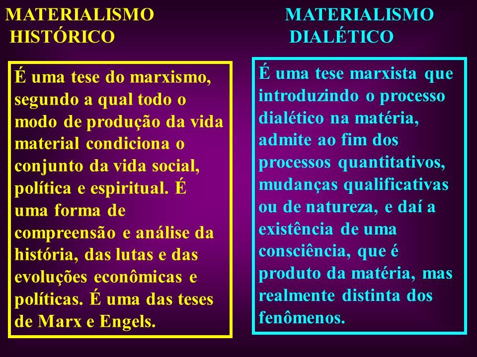 MATERIALISMO HISTÓRICO MATERIALISMO DIALÉTICO É uma tese do marxismo, segundo a qual todo o modo de produção da vida material condiciona o conjunto da