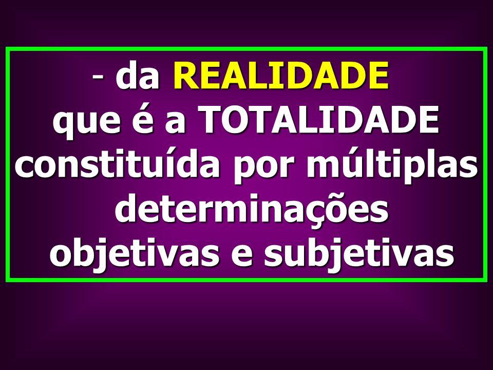 - da REALIDADE que é a TOTALIDADE constituída por múltiplas determinações determinações objetivas e subjetivas objetivas e subjetivas