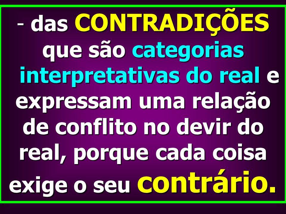- das CONTRADIÇÕES que são categorias interpretativas do real e expressam uma relação de conflito no devir do real, porque cada coisa exige o seu cont