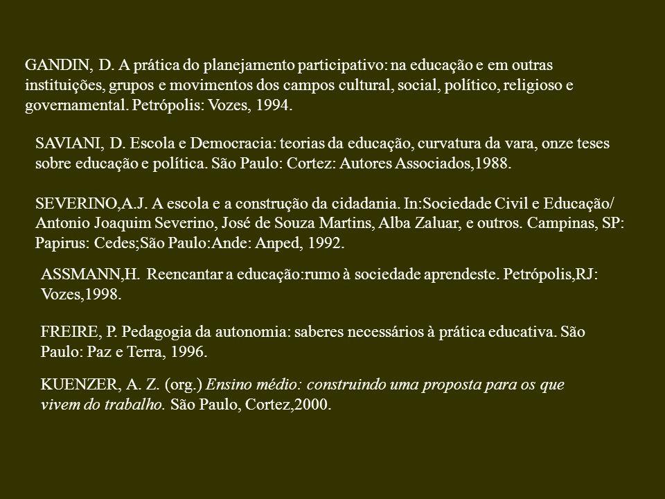 GANDIN, D. A prática do planejamento participativo: na educação e em outras instituições, grupos e movimentos dos campos cultural, social, político, r