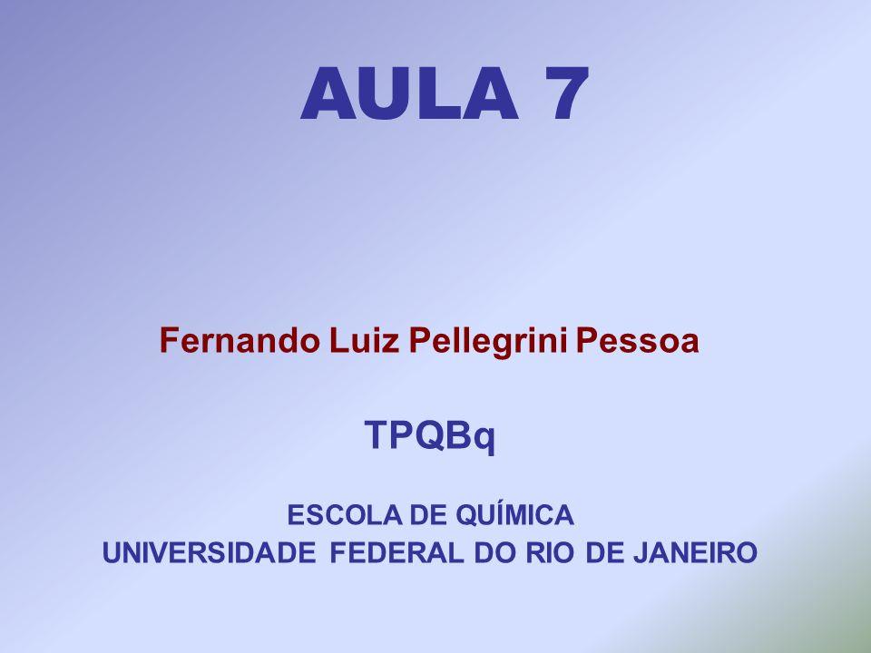 AULA 7 Fernando Luiz Pellegrini Pessoa TPQBq ESCOLA DE QUÍMICA UNIVERSIDADE FEDERAL DO RIO DE JANEIRO